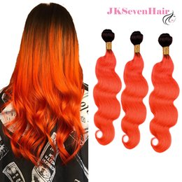 $enCountryForm.capitalKeyWord Australia - Dark Root Orange Brazilian Virgin Human Hair Body Wave 3 Bundles 1B Orange Ombre Malaysian Peruvian Indian Remy Hair Wefts With High Quality