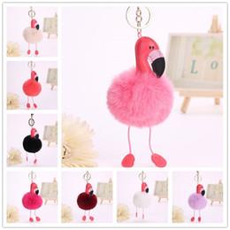 $enCountryForm.capitalKeyWord Australia - Fashion Women Fake Rabbit Fur Flamingo Pompom Keychain Keyring Plush Key Chain Key Ring Keyfob Purse Bag Phone Car Pendant Jewelry Gift