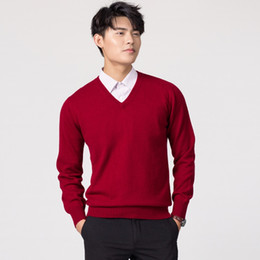 Woolen Knitted Clothes NZ - Man Pullovers Winter New Fashion Vneck Sweater Cashmere and Wool Knitted Jumpers Men Woolen Clothes Hot Sale Standard Male Tops #539038