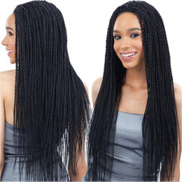 Glueless Wig Braids For Australia - Mei Yang Glueless Micro Braid Lace Front Wigs Heat Resistant Fiber Synthetic Fully Hand Tied Braided Wig with Baby Hair for Black Women