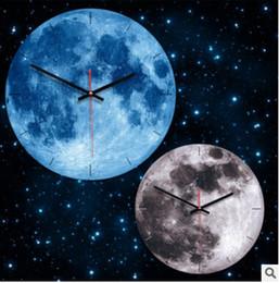 pvc beds 2019 - Glowing Moon Cartoon Wall Clock Pvc Acrylic Luminous Hanging Clock Moon Clock Living Bed Room Bedroom Decoration 28cm ch