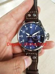 Big Pilots Watch Australia - High Quality Watch New Big Pilot 7 Day Power Reserv IW501002 Automatic day date Blue dial Brown leather watches Men's Watch Wristwatches