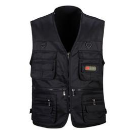 Wholesale photographers vest jacket resale online - Male Casual Multi Pocket Vest For Men Solid Photographer Outerwear Waistcoat Outdoor Clothing Fishing Vest Sleeveless Jacket