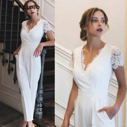 Wholesale shirt lace back online – White V Neck Sheath Long Jumpsuit For Prom Short Sleeves Lace Ruched Buttons Back Formal Party Evening Gowns With Pockets