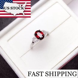 $enCountryForm.capitalKeyWord Australia - Us Stock, Garnet Ring, 925 Sterling Silver, Size 4-13, 6*8mm Certified Oval Shape Red Gemstone Wedding Jewelry For Women Fj200 J190611