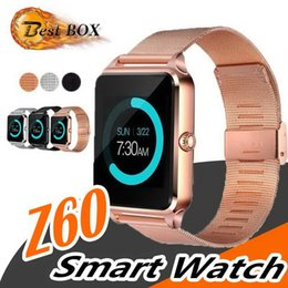 smart watch gsm sim Australia - Top quality Wholesale Touch Screen Z60 Bluetooth Smart Watch Men Sports Wristbands Support Phone Call 2G GSM SIM TF Card Camera Smartwatch