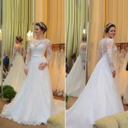 $enCountryForm.capitalKeyWord Australia - Vintage Long Sleeves Wedding Gowns with Bow Lace Applique Zipper Back Bridal Dress China A Line Wedding Dress