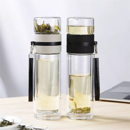 Camping water filters online shopping - Travel Drinkware Portable Double Wall Glass Tea Bottle Tea Infuser Glass Tumbler Stainless Steel Filters The Tea Filter Q190430