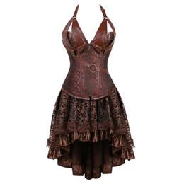 $enCountryForm.capitalKeyWord UK - Bustier Steampunk Corset Dress Plus Size Black Brown Zipper Black Faux Leather Corset With Skirt Gothic Punk Burlesque Pirate