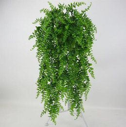 Hanging Plastic Green Flowers Australia - 5 forks Artificial Pearls Fleshy green Vine Ivy branches wall Hanging Plastic Rattan plant fall home wedding decoration flowers GB145