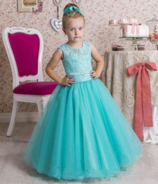 Cupcake Making Australia - Lovely Flower Girls Dresses Jewel With Lace Applique Cupcake Girls Dresses Back Lace-up Floor-Length Custom Made Custom Made Party Gowns