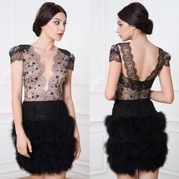 $enCountryForm.capitalKeyWord Australia - 2019 Little Black Dresses Prom Deep V Neck Lace Appliqued Feather Cap Sleeves Mini Evening Gowns Custom Made Illusion Cocktail Party Dresses