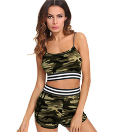 $enCountryForm.capitalKeyWord UK - Women Two Piece Outfits Sexy Shorts Fitness Camouflage Vest Tank Top Sportswear Sport Clothing Suit Set Hot Pants Gym Sportsuits