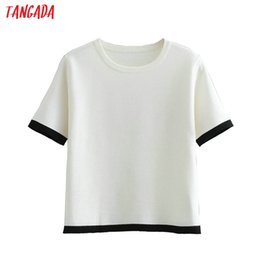 6574e99076c Tangada women elegant summer white sweater fashion 2019 o neck short sleeve  knit sweater ladies work wear casual tops FH22
