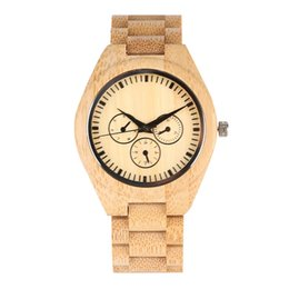 Unique Watches For Men UK - Natural Bamboo Wooden Watch for Men Unique Fake Three-eyes Pattern Dial Watches for Male Elegant Minimalist Bamboo Strap Wristwatch