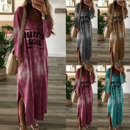 summer simple maxi dress sleeves Australia - Autumn Women New Simple V Neck Letter Tie-Dyed Printing Leisure Long Sleeve Dresses Maxi Dress Ladies Vestidos