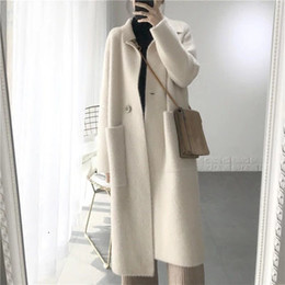 ladies simple jacket NZ - 2019 Winter Woman Wool Cashmere Solid Loose Coat Jacket Women Woolen Simple Coat Elegant Lady Long Blend Coats Cardigan T190923