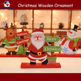 wooden crafts for kids 2019 - 2 pcs Merry Christ-mas Wooden Craft Ornament Desktop Table Decor-ation Navidad Reindeer Santa Snowman Stand Xmas Gift fo