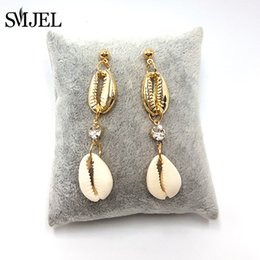 $enCountryForm.capitalKeyWord Australia - SMJEL Vintage Gold Natural Sea Shell Earring For Women 2019 Summer Fashion Korean Cowrie Shell Earring Dangle Crystal Jewelry