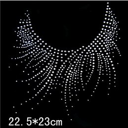 9c0888f8 Bling White Round Neckline Pattern Hot Fix Rhinestone Heat Transfer Iron On Rhinestone  Transfer Designs DIY Clothing