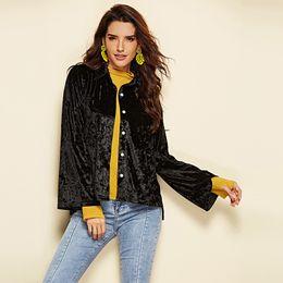 $enCountryForm.capitalKeyWord NZ - 2018 hot selling women Black Velvet tops autumn and winter Korean style long-sleeved black Blouses European and American fashion coats women