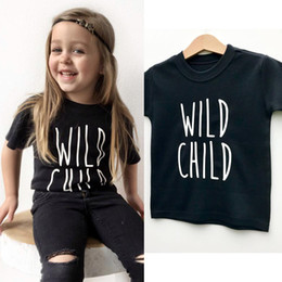 toddler boys cool fashion Australia - Wild Child Letter Print Kids Boys Girls Summer Casual Tops Tshirt Children Fashion Cool Tops Tees Toddler Baby Graphic T-shirt