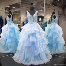 $enCountryForm.capitalKeyWord Australia - Sweet 16 Ball Gown Lace Quinceanera Dresses Blue Tulle Beads vestido debutante 15 anos V Neck Sheer Prom Dresses For Party Ruffles
