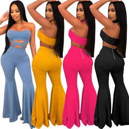 Bandaged Black leggings online shopping - Women strapless two piece set sexy bandage crop top bodycon flared pants designer summer clothing solid color leggings suit clubwear