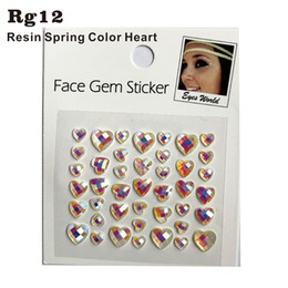 Discount stickers for dresses - RG12 Spring Color Heart Shiny Resin stick on Eye Gem Jewels Sticker Makeup Sticker HER Gift for Dress up, Costume Party