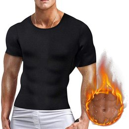 Wholesale 2019 Men Slimming Body T shirtTummy Bodybuilding Compression Fat Burn Chest Tummy Tops Corset
