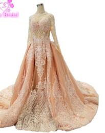 Quinceanera Dresses White Detachable Australia - Vintage African Muslim Bridal Gowns Detachable Train Available Pink Mermaid Wedding Dresses 2018 Long Sleeve Robe De MarieeU32