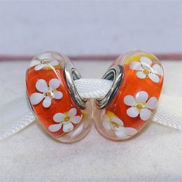 Discount sterling silver core beads S925 Sterling Silver Screw Core Tropical Flower Murano Glass Charm Beads Fit European Jewelry Bracelets Necklaces & Pend