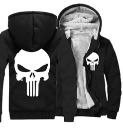 Wholesale eminem black hoodie for sale – custom New Winter Warm Cotton Fleece Eminem Hoodie Fashion Thick Zipper Skulls Men s cardigan Jackets and Coats Styles Hot Sale