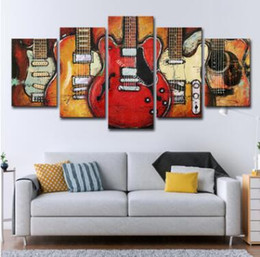 modern music oil painting UK - Wall Art Canvas Pictures 5 Panels Modern Music Guitar No Frame Oil Painting Canvas Art Wall Picture For Bed Room Unframed Soccer