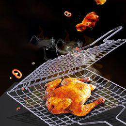 $enCountryForm.capitalKeyWord Australia - Grill Basket Durable non-toxic Folding Dual Fish Hamburger Clip Clamp BBQ Roasting Grilling Net Mesh Picnic Tool