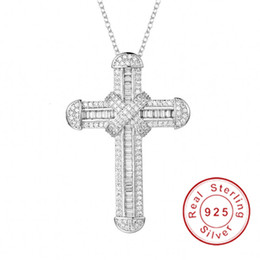 silver crucifix pendants Australia - New 925 Silver Exquisite Bible Jesus Cross Pendant Necklace for women men Crucifix Charm Simulated Platinum Diamond Jewelry N028 CJ191210