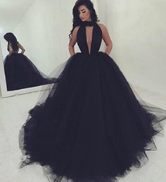 Short Black Puffy Dress Sequins Australia - Black Prom Dresses 2019 Sexy Key Hole Bust Halter Neck Ball Gown Evening Gowns Cocktail Party Ball Red Carpet Dress Puffy Formal Gown