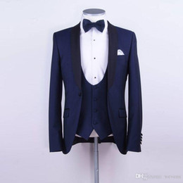 Blue Suit Yellow Tie Australia - Navy Blue Custom Made Mens Suit Two Pieces Wedding Tuxedos Slim Fit Groom Formal Suits(Jacket+Vest+Bow Tie)