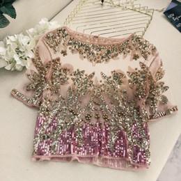 $enCountryForm.capitalKeyWord NZ - 2018 Runway Star T Shirt Women Temperament Embroidered Bead Blingbling Bright Short Sleeve Perspective T-shirt Ladies Tees Tops Y19042501