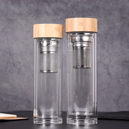 wholesale baskets lids NZ - 450ml Bamboo Lid Water Cups Double Walled Glass Tea Tumbler With Strainer And Infuser Basket Glass Water Bottles GGA2633
