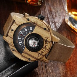 $enCountryForm.capitalKeyWord Australia - Creative Men Wood Watch Mens Wooden Wrist Watches Creative Real Solid Natural Walnut Rosewood Male Turntable Compass Wristwatch Y19052103
