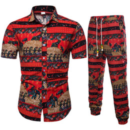 long sleeved chinese collared shirts UK - 2 sets of ethnic style floral print long-sleeved shirt+pants men spring and autumn Chinese style Slim Plus size 100% cotton suit