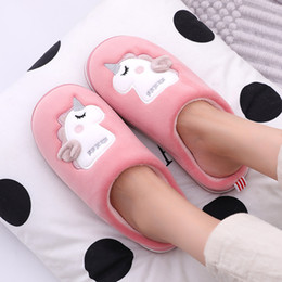 unicorn slippers NZ - Unicorn Women Winter Home Slippers Cute Cartoon Animal Slip On Warm Men Ladies Boys Girls House Shoes Indoor Bedroom Slippers Y200706