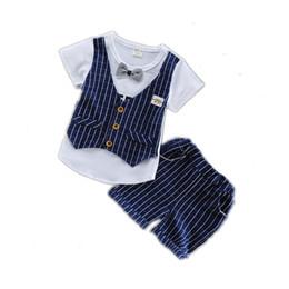 ae0efb11 Fashion 2019 Children Tracksuits Baby Boys Girls Short T-shirt Shorts 2Pcs  sets Summer Kids Plaid Bowknot Pure Cotton Clothes