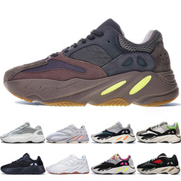cheap kanye shoes UK - With Box Cheap Kanye West 700 V2 Static 3M Mauve Inertia 700s Wave Runner Mens Running shoes for men Women sports sneakers designer trainers
