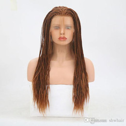 micro braided wigs UK - Micro Braided Wig With Baby Hair Glueless Heat Resistant Fiber Box Braided Synthetic Lace Front Wigs With Baby Hair For Black Women