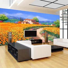 Wholesale country roads for sale - Group buy personality large mural living room sofa wallpaper bedroom background Wall painting country road scenery wall paper