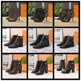 Brown cane online shopping - A7 Luxury design Martin boot Jumble flat ankle boot calf leather Brown flower Winter boots for women side zip combat boost