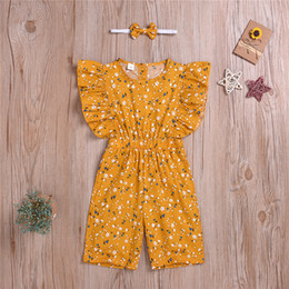 headbands bow Australia - Baby girl kids clothes Set Girls Flying-sleeve Broken Flower jumpsuits+bow headband two piece sets kids designer clothes girls BJY603
