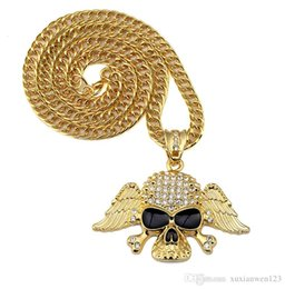 skull wing pendants Australia - Iced Out NEW Golden Skull Wing Pendant Necklace 75cm Cuban Link Chain Hiphop Jewelry Men's Gift